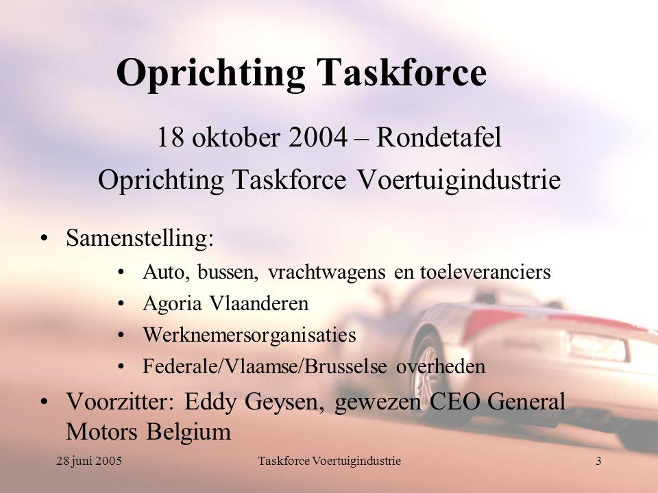 28 juni 2005Taskforce Voertuigindustrie4 Mission statement De Taskforce heeft tot doel alle betrokken actoren in een ruim overleg samen te brengen om op korte termijn tot maatregelen te komen voor het realiseren van een optimaal flankerend beleid voor de voertuigsector.