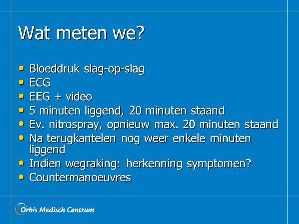 Wat meten we? Bloeddruk slag-op-slag Bloeddruk slag-op-slag ECG ECG EEG + video EEG + video 5 minuten liggend, 20 minuten staand 5 minuten liggend, 20