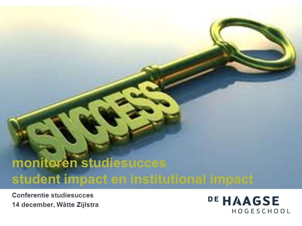 Conferentie studiesucces 14 december, Wâtte Zijlstra monitoren studiesucces student impact en institutional impact