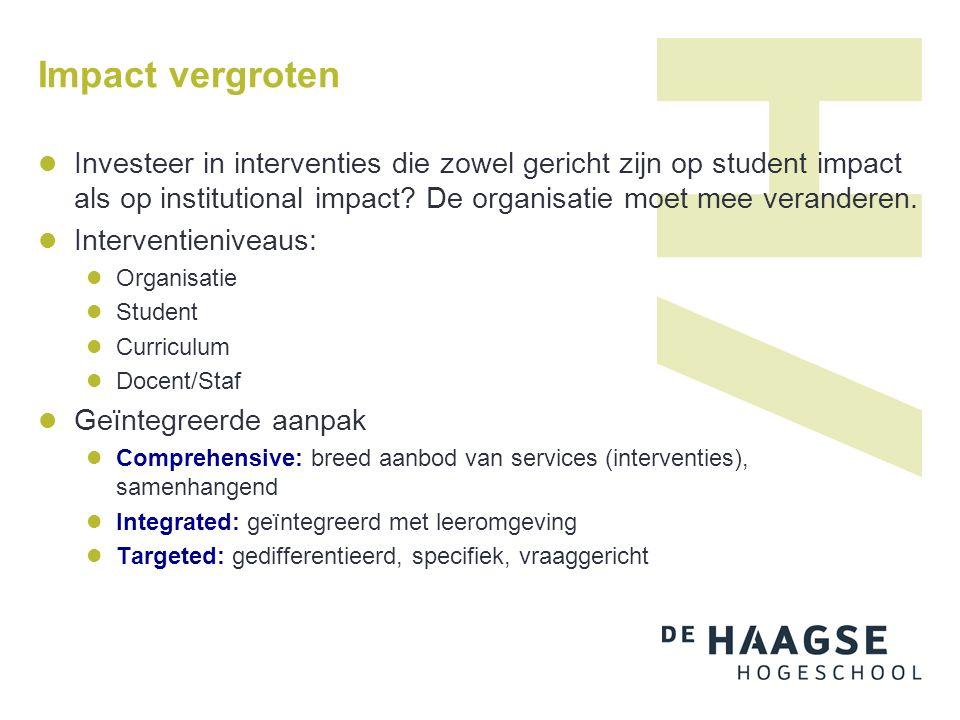 Impact vergroten Investeer in interventies die zowel gericht zijn op student impact als op institutional impact.