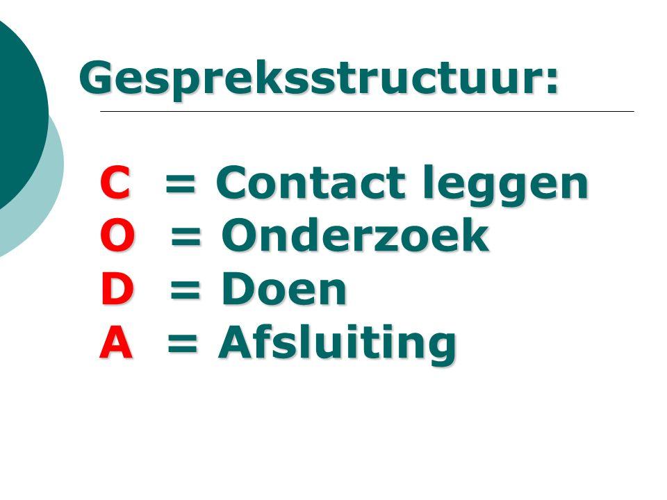 Gespreksstructuur: C = Contact leggen O = Onderzoek D = Doen A = Afsluiting