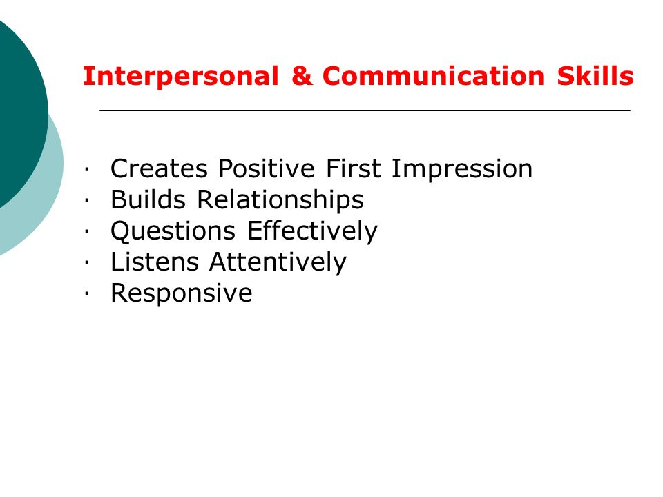 Interpersonal & Communication Skills · Creates Positive First Impression · Builds Relationships · Questions Effectively · Listens Attentively · Responsive