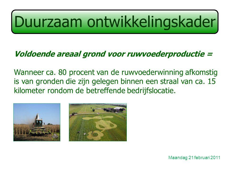 Duurzaam ontwikkelingskader Maandag 21 februari 2011 Voldoende areaal grond voor ruwvoederproductie = Wanneer ca.