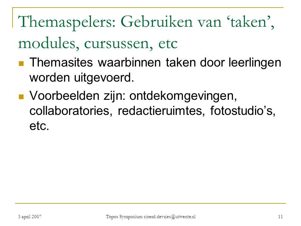 5 april 2007 Topos Symposium sjoerd.devries@utwente.nl 11 Themaspelers: Gebruiken van 'taken', modules, cursussen, etc Themasites waarbinnen taken door leerlingen worden uitgevoerd.