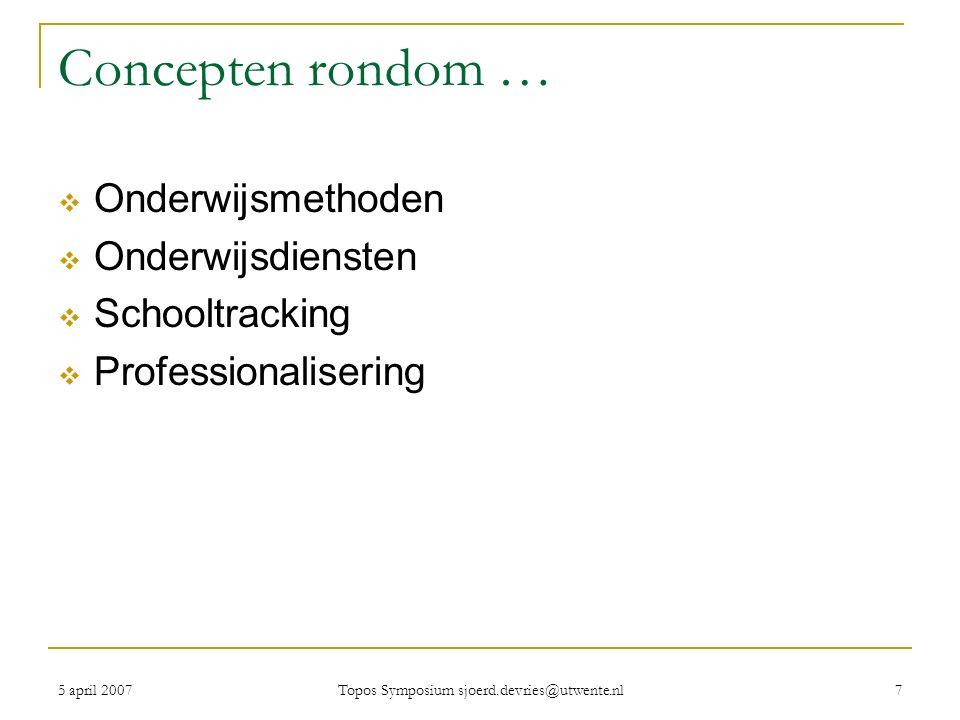5 april 2007 Topos Symposium sjoerd.devries@utwente.nl 7 Concepten rondom …  Onderwijsmethoden  Onderwijsdiensten  Schooltracking  Professionalisering