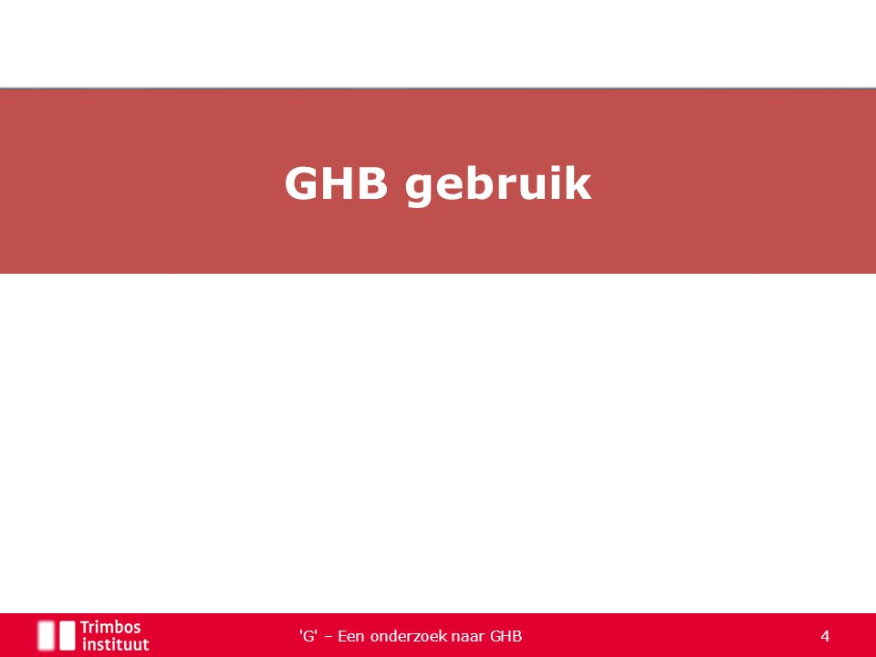 Het aantal GHB slachtoffers bij spoedeisende eerste hulpdiensten is tussen 2003 en 2010 sterk toegenomen Er zijn signalen dat ook het gebruik van GBL bij gezondheidsincidenten een rol speelt, maar de omvang is niet bekend GHB komt voor in bloed van verkeersdeelnemers die van drugsgebruik worden verdacht Er is geen goed zicht op het aantal sterfgevallen waarbij GHB betrokken is GHB is een relatief goedkope drug G – Een onderzoek naar GHB 55 NDM-jaarbericht 2011