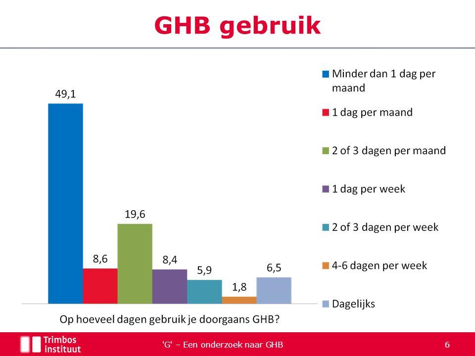 G – Een onderzoek naar GHB 7 GHB gebruik