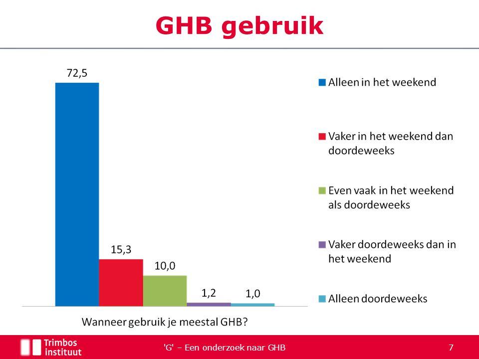 G – Een onderzoek naar GHB 28 Gebruikersgroepen