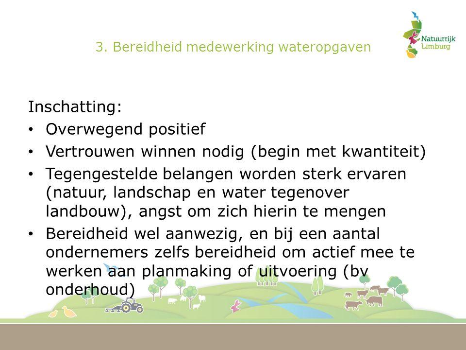 3. Bereidheid medewerking wateropgaven Inschatting: Overwegend positief Vertrouwen winnen nodig (begin met kwantiteit) Tegengestelde belangen worden s