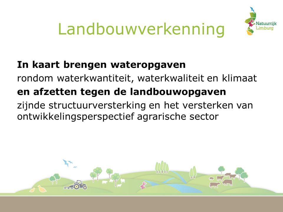 Landbouwverkenning In kaart brengen wateropgaven rondom waterkwantiteit, waterkwaliteit en klimaat en afzetten tegen de landbouwopgaven zijnde structuurversterking en het versterken van ontwikkelingsperspectief agrarische sector
