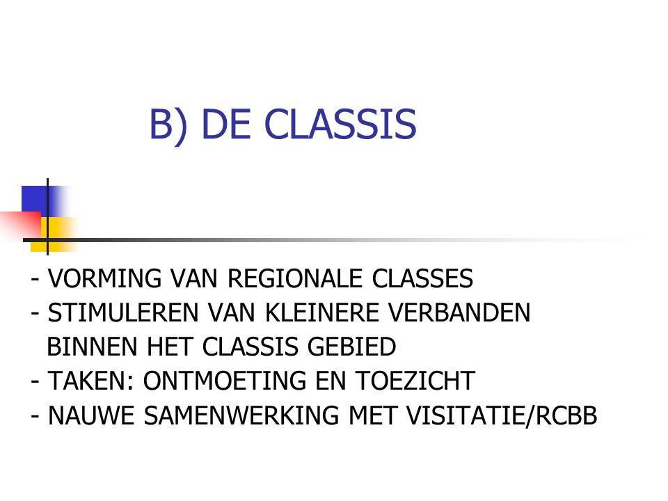 B) DE CLASSIS - VORMING VAN REGIONALE CLASSES - STIMULEREN VAN KLEINERE VERBANDEN BINNEN HET CLASSIS GEBIED - TAKEN: ONTMOETING EN TOEZICHT - NAUWE SA