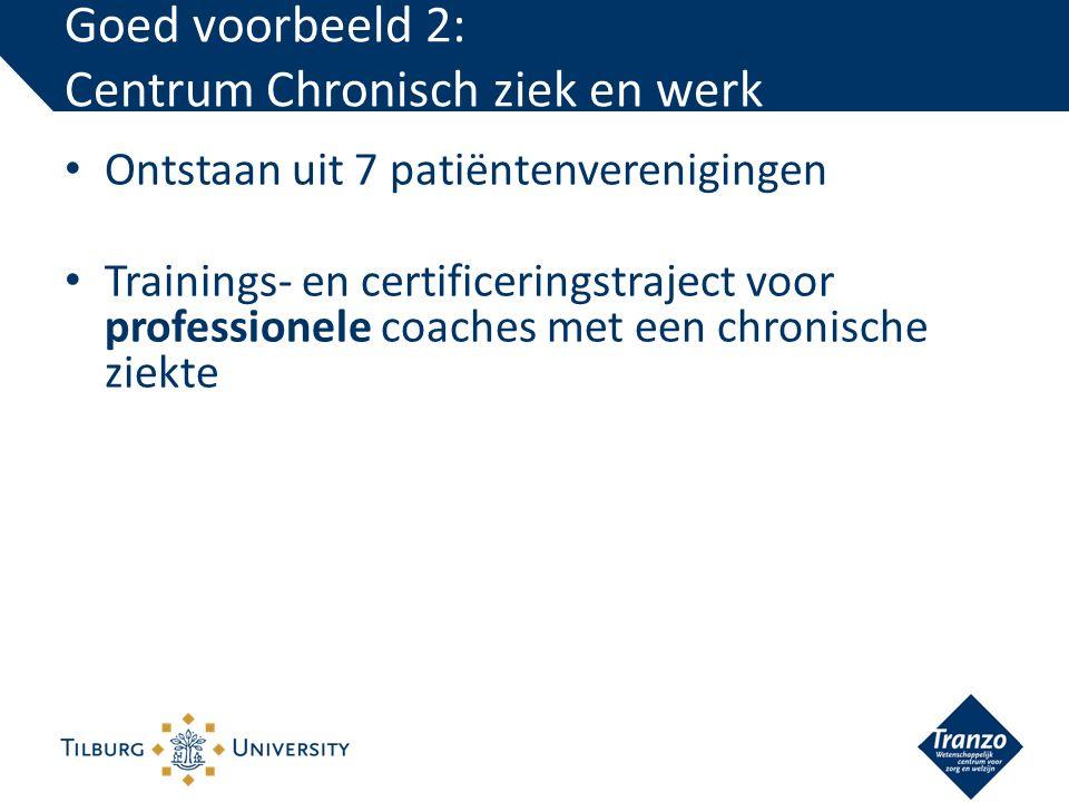 Ontstaan uit 7 patiëntenverenigingen Trainings- en certificeringstraject voor professionele coaches met een chronische ziekte Goed voorbeeld 2: Centrum Chronisch ziek en werk