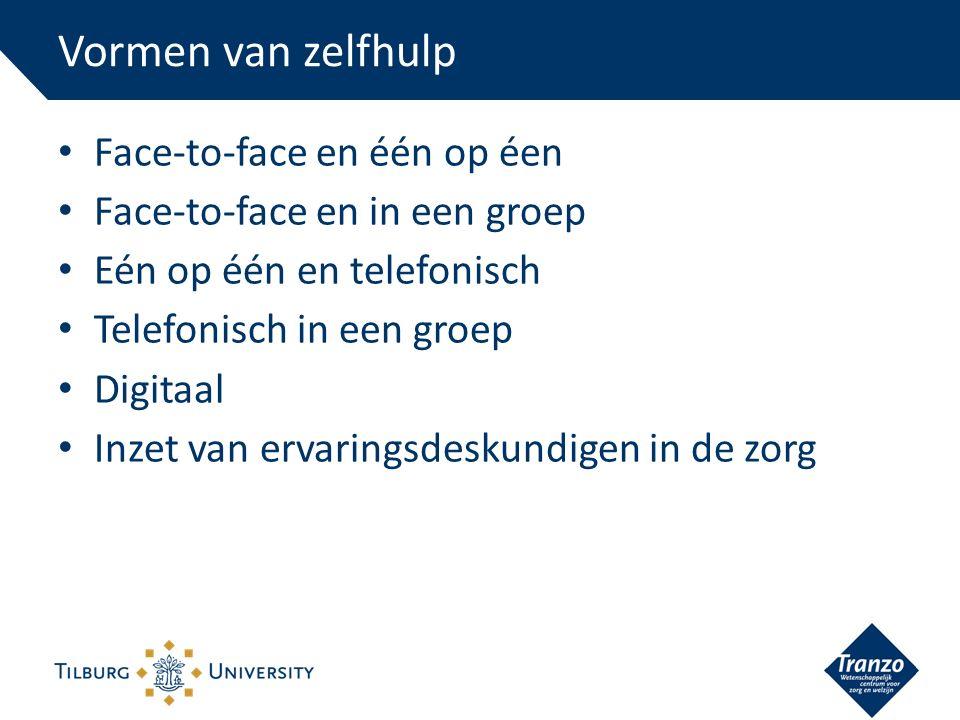Face-to-face en één op éen Face-to-face en in een groep Eén op één en telefonisch Telefonisch in een groep Digitaal Inzet van ervaringsdeskundigen in de zorg Vormen van zelfhulp