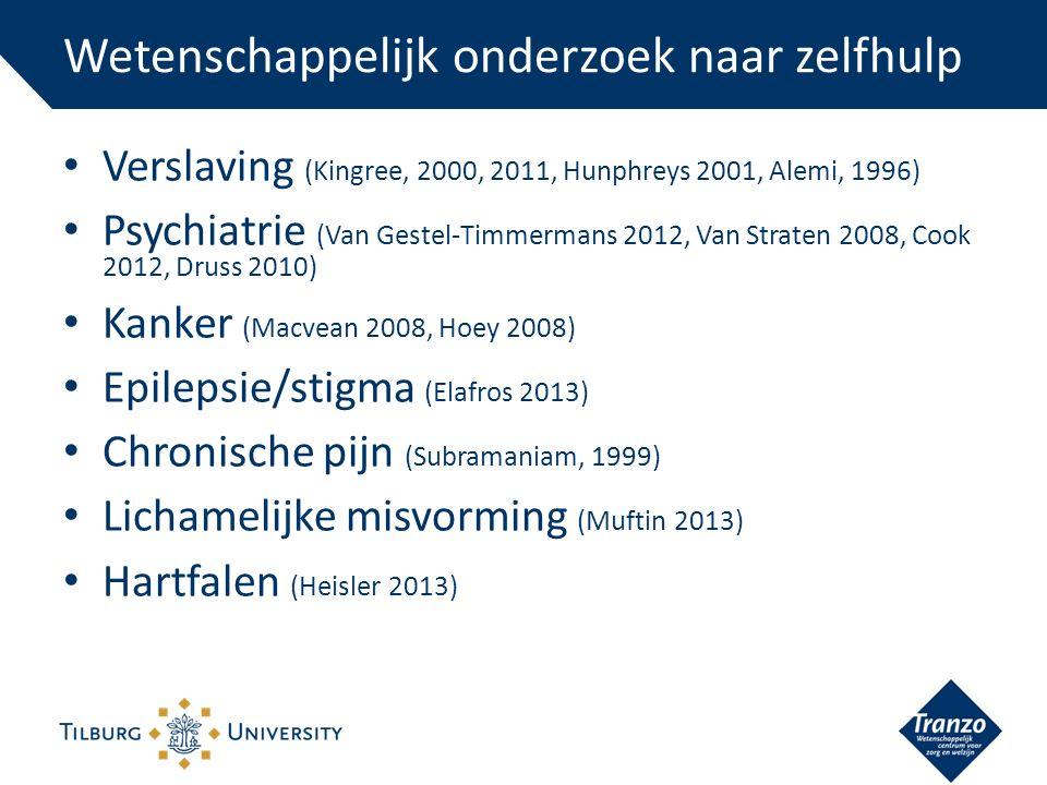 Verslaving (Kingree, 2000, 2011, Hunphreys 2001, Alemi, 1996) Psychiatrie (Van Gestel-Timmermans 2012, Van Straten 2008, Cook 2012, Druss 2010) Kanker (Macvean 2008, Hoey 2008) Epilepsie/stigma (Elafros 2013) Chronische pijn (Subramaniam, 1999) Lichamelijke misvorming (Muftin 2013) Hartfalen (Heisler 2013) Wetenschappelijk onderzoek naar zelfhulp
