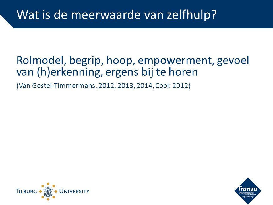 Rolmodel, begrip, hoop, empowerment, gevoel van (h)erkenning, ergens bij te horen (Van Gestel-Timmermans, 2012, 2013, 2014, Cook 2012) Wat is de meerwaarde van zelfhulp?