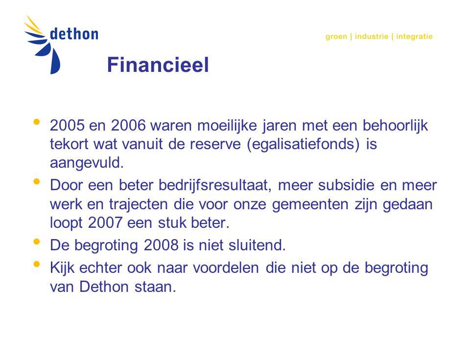 Financieel 2005 en 2006 waren moeilijke jaren met een behoorlijk tekort wat vanuit de reserve (egalisatiefonds) is aangevuld.
