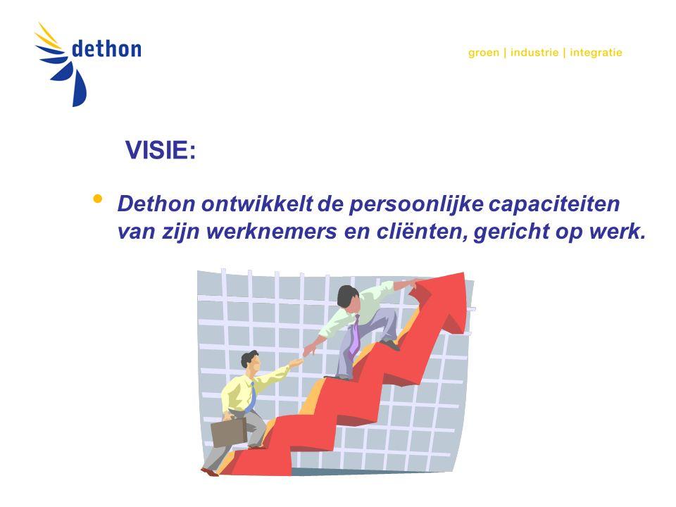 VISIE: Dethon ontwikkelt de persoonlijke capaciteiten van zijn werknemers en cliënten, gericht op werk.