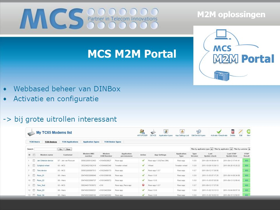 MCS M2M Portal Webbased beheer van DINBox Activatie en configuratie -> bij grote uitrollen interessant M2M oplossingen