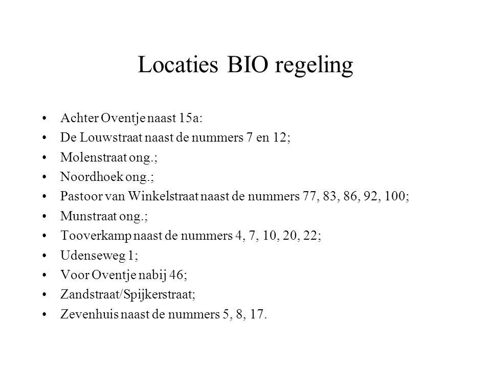 Locaties BIO regeling Achter Oventje naast 15a: De Louwstraat naast de nummers 7 en 12; Molenstraat ong.; Noordhoek ong.; Pastoor van Winkelstraat naa