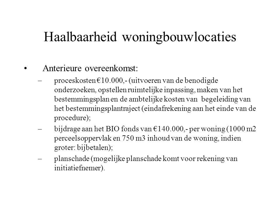 Haalbaarheid woningbouwlocaties Anterieure overeenkomst: –proceskosten €10.000,- (uitvoeren van de benodigde onderzoeken, opstellen ruimtelijke inpassing, maken van het bestemmingsplan en de ambtelijke kosten van begeleiding van het bestemmingsplantraject (eindafrekening aan het einde van de procedure); –bijdrage aan het BIO fonds van €140.000,- per woning (1000 m2 perceelsoppervlak en 750 m3 inhoud van de woning, indien groter: bijbetalen); –planschade (mogelijke planschade komt voor rekening van initiatiefnemer).