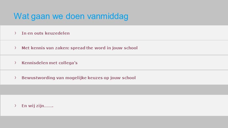 Wat gaan we doen vanmiddag › In en outs keuzedelen › Met kennis van zaken: spread the word in jouw school › Kennisdelen met collega's › Bewustwording van mogelijke keuzes op jouw school › En wij zijn…….