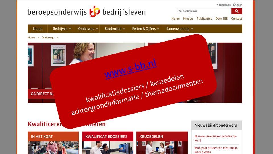 www.s-bb.nl kwalificatiedossiers / keuzedelen achtergrondinformatie / themadocumenten