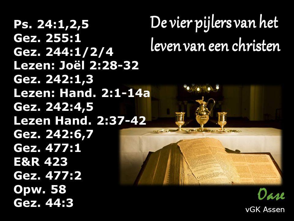 Ps. 24:1,2,5 Gez. 255:1 Gez. 244:1/2/4 Lezen: Joël 2:28-32 Gez.