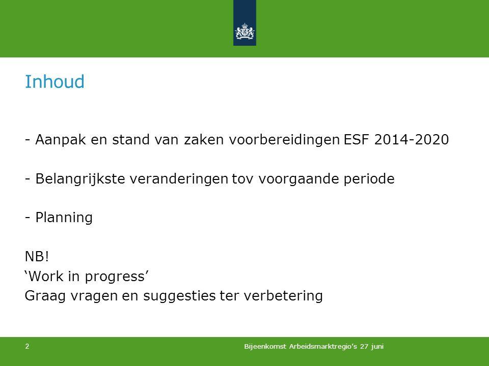 Inhoud - Aanpak en stand van zaken voorbereidingen ESF 2014-2020 - Belangrijkste veranderingen tov voorgaande periode - Planning NB.