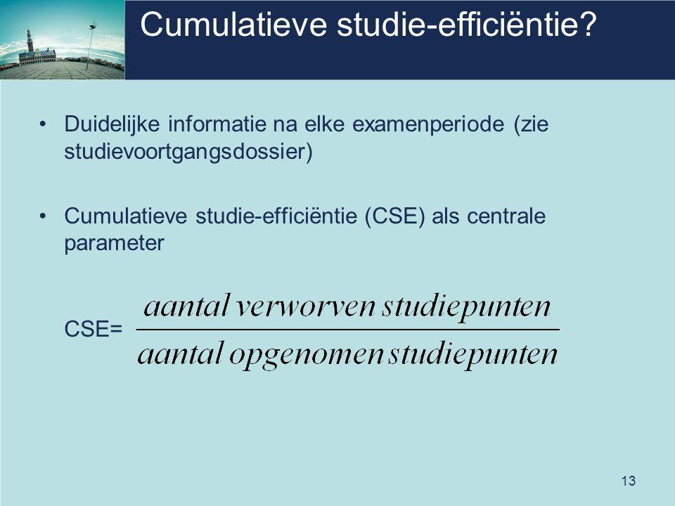 13 Cumulatieve studie-efficiëntie? Duidelijke informatie na elke examenperiode (zie studievoortgangsdossier) Cumulatieve studie-efficiëntie (CSE) als