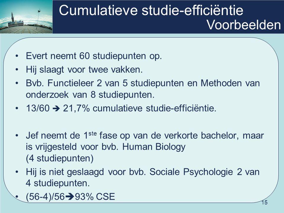 15 Cumulatieve studie-efficiëntie Evert neemt 60 studiepunten op. Hij slaagt voor twee vakken. Bvb. Functieleer 2 van 5 studiepunten en Methoden van o