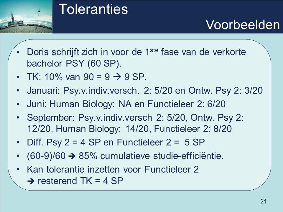 21 Toleranties Doris schrijft zich in voor de 1 ste fase van de verkorte bachelor PSY (60 SP).