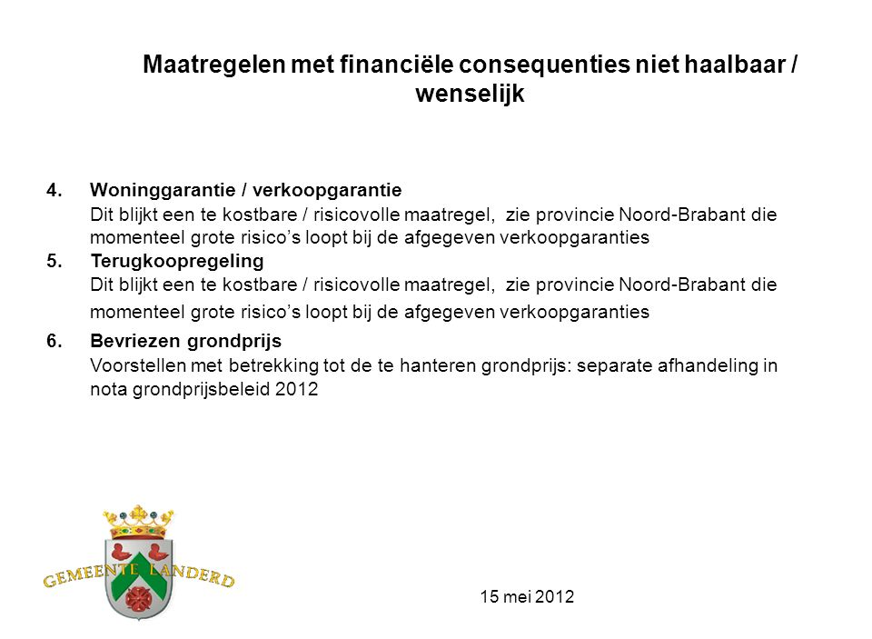 15 mei 2012 Haalbare maatregelen met financiële consequenties 1.Bordjes in de nog beschikbare kavels Voorstel om hiervoor een bedrag beschikbaar te stellen 2.Nu met gratis tuin .