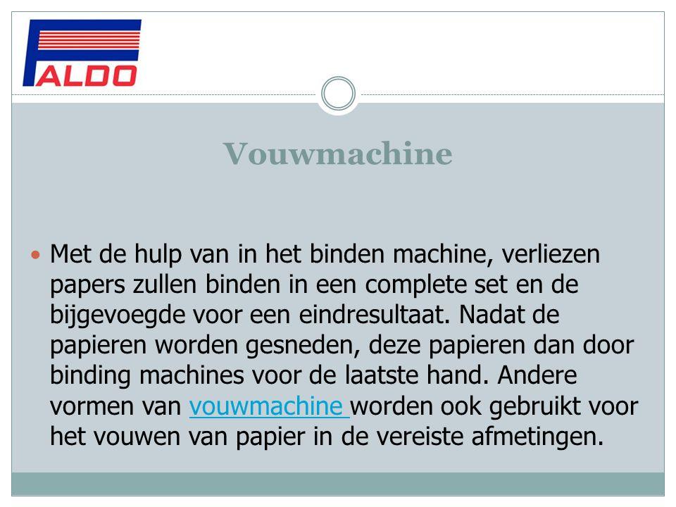 Vouwmachine Met de hulp van in het binden machine, verliezen papers zullen binden in een complete set en de bijgevoegde voor een eindresultaat. Nadat