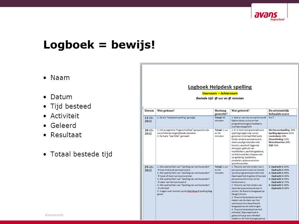 Kenmerk: 24 juni 2013 Logboek = bewijs.