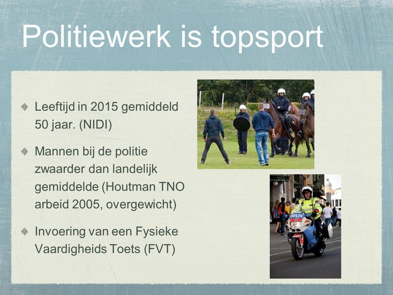 Politiewerk is topsport Leeftijd in 2015 gemiddeld 50 jaar.