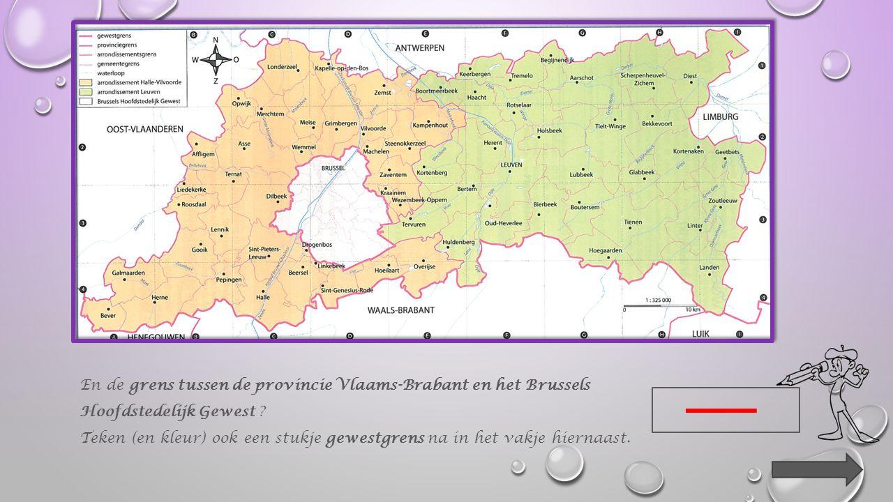Hoe is op de kaart de grens tussen de provincie Vlaams-Brabant en de provincie Waals-Brabant getekend .