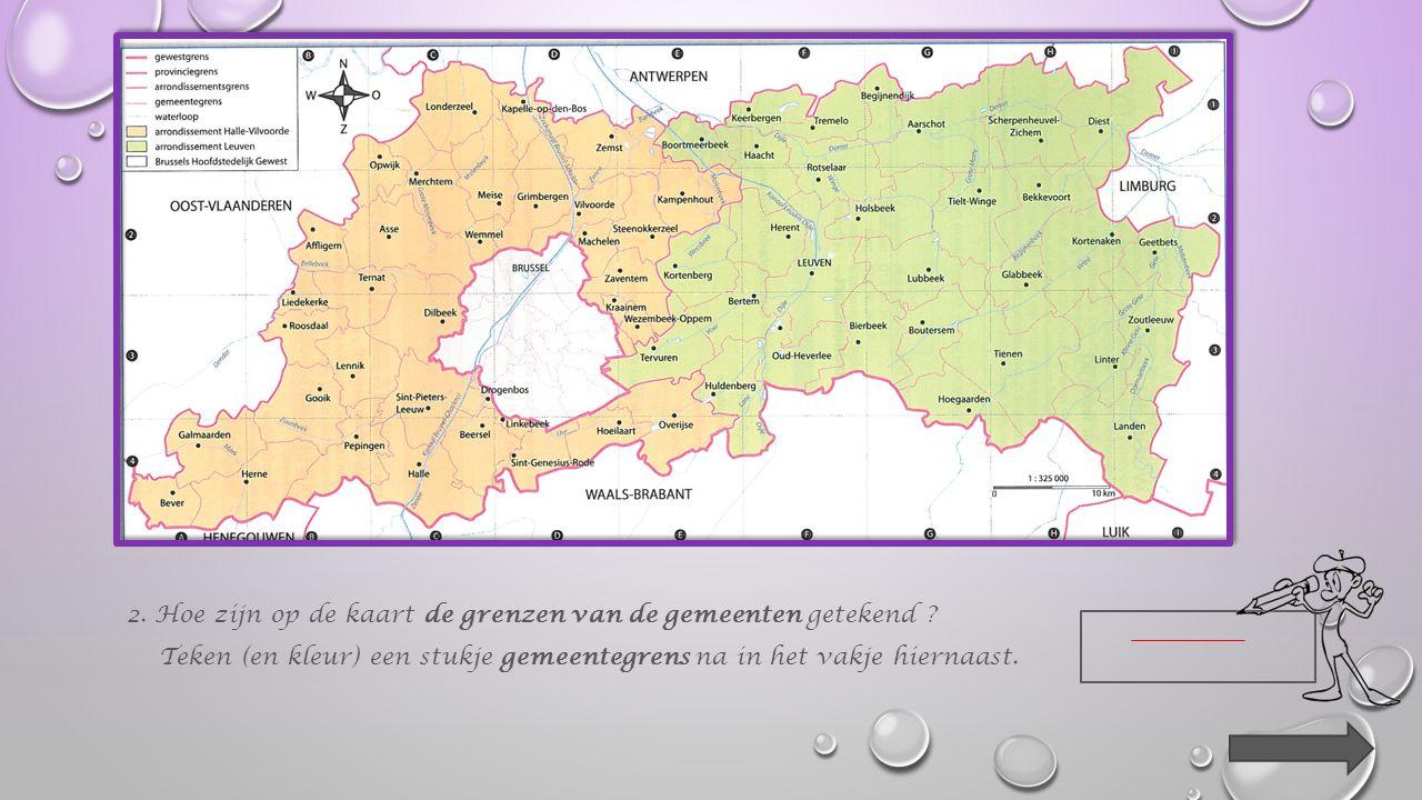 2.Hoe zijn op de kaart de grenzen van de gemeenten getekend .