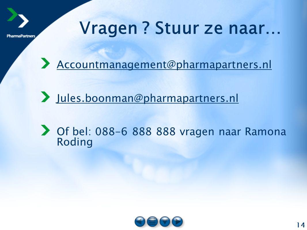 14 Vragen ? Stuur ze naar… Accountmanagement@pharmapartners.nl Jules.boonman@pharmapartners.nl Of bel: 088-6 888 888 vragen naar Ramona Roding