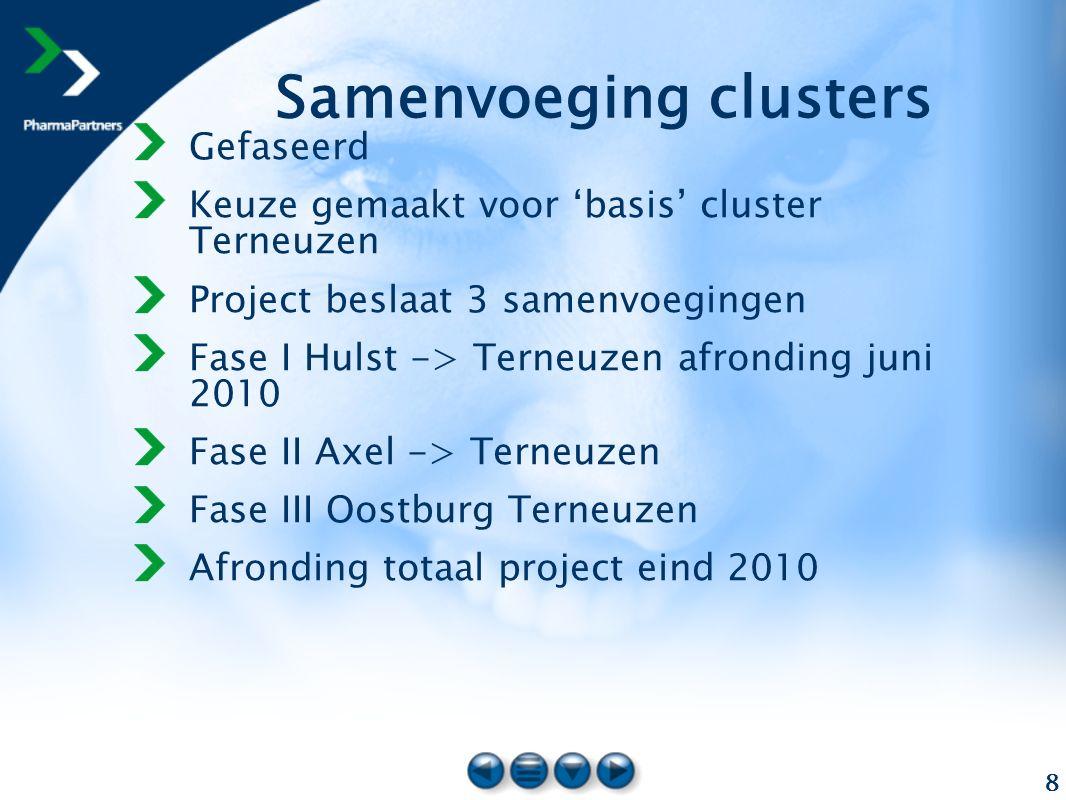 8 Samenvoeging clusters Gefaseerd Keuze gemaakt voor 'basis' cluster Terneuzen Project beslaat 3 samenvoegingen Fase I Hulst -> Terneuzen afronding ju