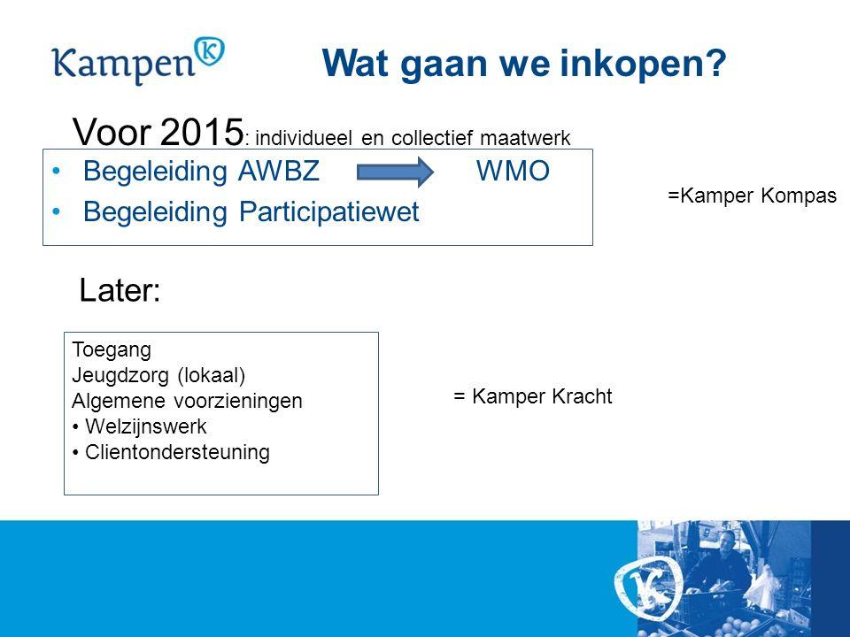 Wat gaan we inkopen? Begeleiding AWBZWMO Begeleiding Participatiewet Voor 2015 : individueel en collectief maatwerk Later: Toegang Jeugdzorg (lokaal)