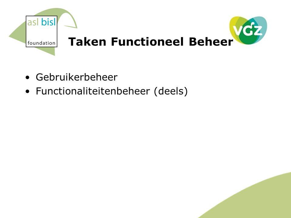Gebruikerbeheer Functionaliteitenbeheer (deels) Taken Functioneel Beheer