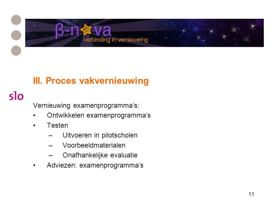 11 III. Proces vakvernieuwing Vernieuwing examenprogramma's: Ontwikkelen examenprogramma's Testen –Uitvoeren in pilotscholen –Voorbeeldmaterialen –Ona