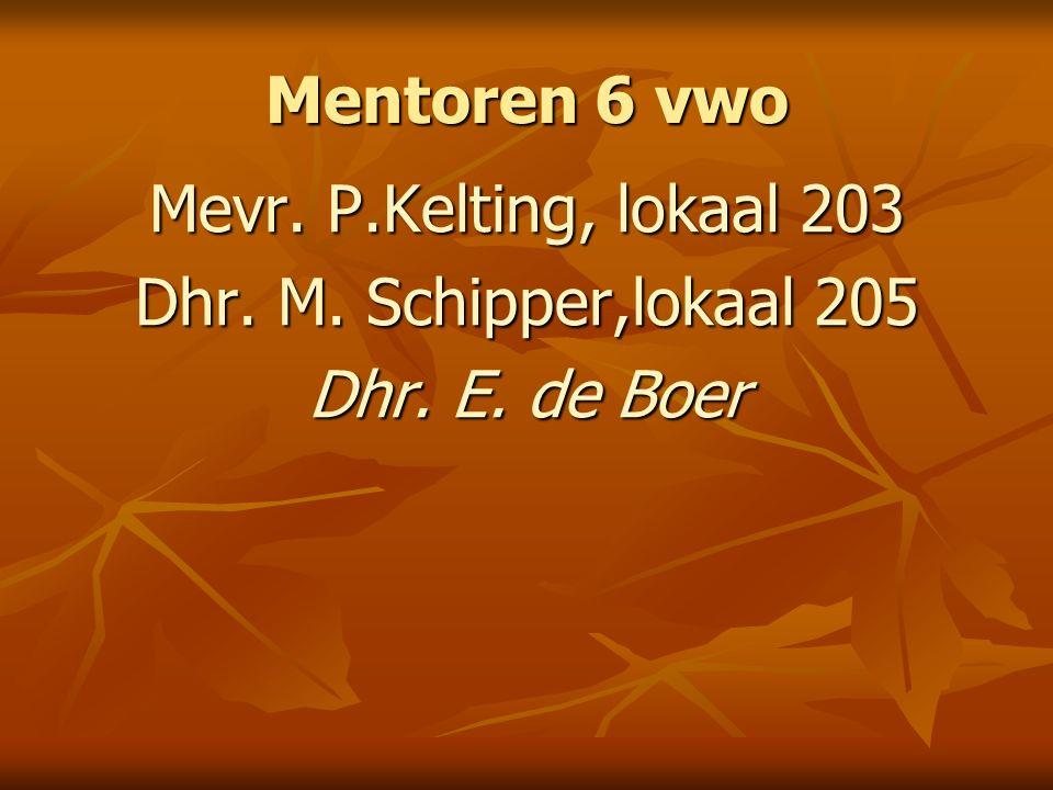 Mentoren 6 vwo Mevr. P.Kelting, lokaal 203 Dhr. M. Schipper,lokaal 205 Dhr. E. de Boer