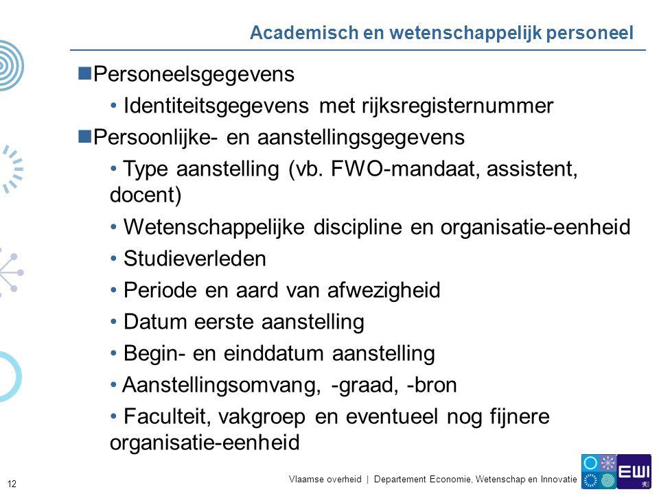 Vlaamse overheid | Departement Economie, Wetenschap en Innovatie 12 Academisch en wetenschappelijk personeel Personeelsgegevens Identiteitsgegevens met rijksregisternummer Persoonlijke- en aanstellingsgegevens Type aanstelling (vb.