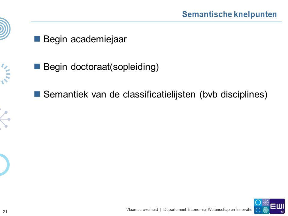 Vlaamse overheid | Departement Economie, Wetenschap en Innovatie 21 Semantische knelpunten Begin academiejaar Begin doctoraat(sopleiding) Semantiek van de classificatielijsten (bvb disciplines)