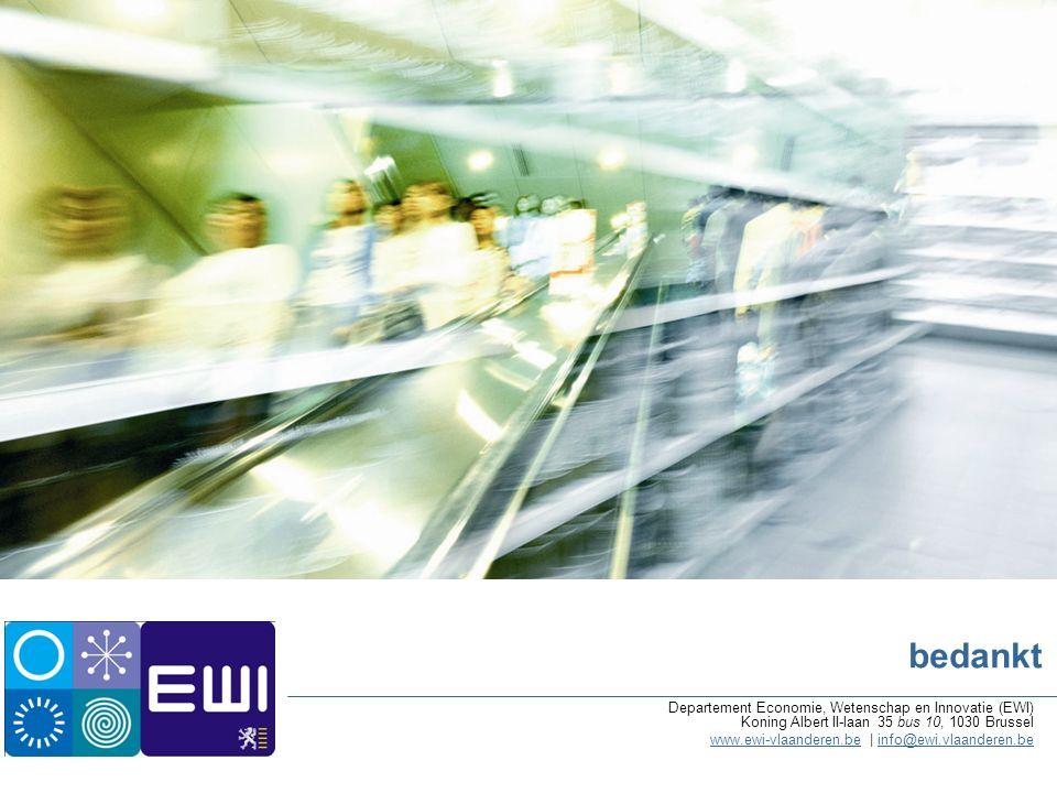 bedankt Departement Economie, Wetenschap en Innovatie (EWI) Koning Albert II-laan 35 bus 10, 1030 Brussel www.ewi-vlaanderen.bewww.ewi-vlaanderen.be | info@ewi.vlaanderen.beinfo@ewi.vlaanderen.be