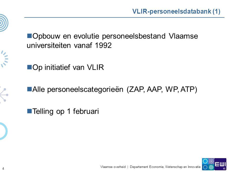 Vlaamse overheid | Departement Economie, Wetenschap en Innovatie 4 VLIR-personeelsdatabank (1) Opbouw en evolutie personeelsbestand Vlaamse universiteiten vanaf 1992 Op initiatief van VLIR Alle personeelscategorieën (ZAP, AAP, WP, ATP) Telling op 1 februari