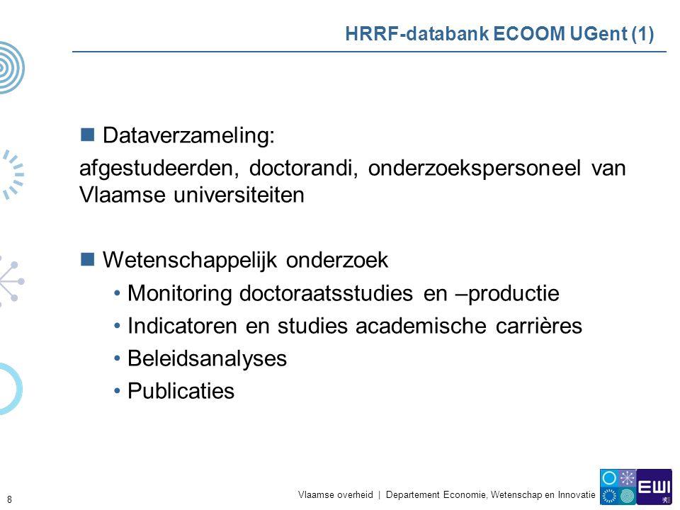 Vlaamse overheid | Departement Economie, Wetenschap en Innovatie 9 HRRF-databank ECOOM UGent (2) In opdracht van Vlaamse overheid (EWI) Historisch overzicht AP Aanlevering en validatie door universiteiten, FWO & IWT Doctoraatsgegevens via de universiteiten