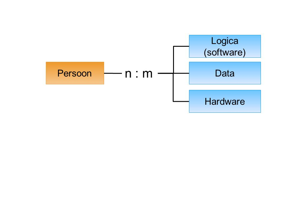 Functie Functionaliteit Persoon Logica (software) Data Hardware n : m