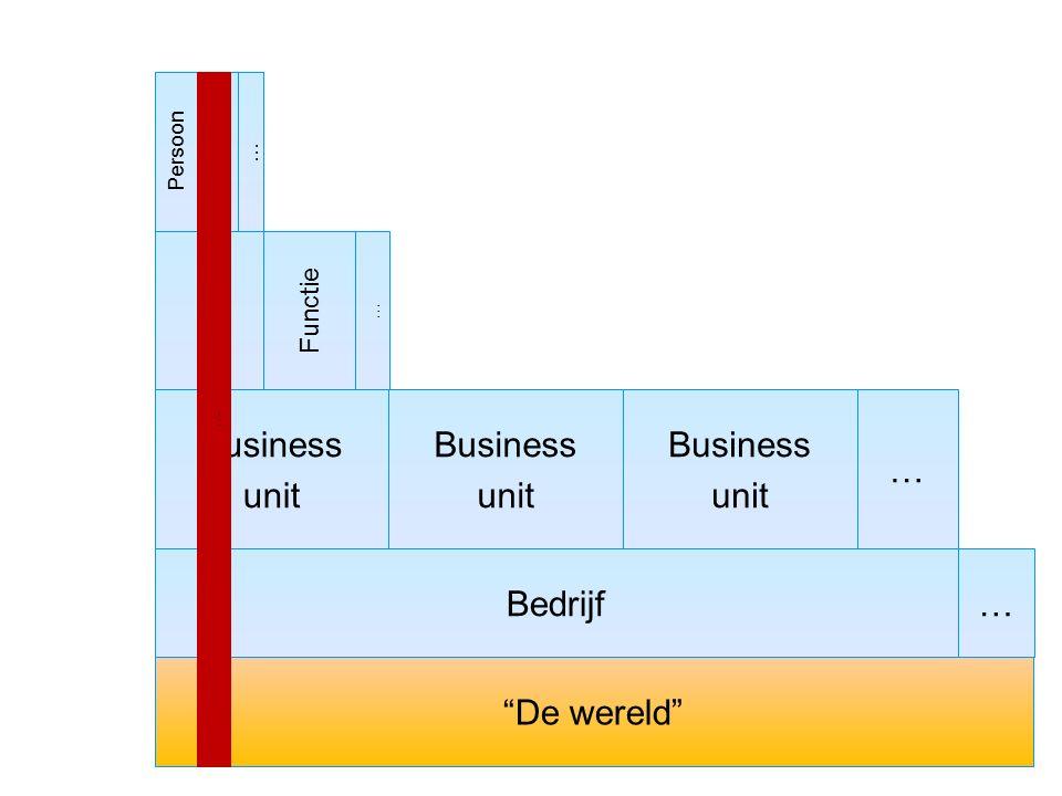"""Bedrijf Business unit """"De wereld"""" Functie … Business unit Business unit … Persoon … … …"""